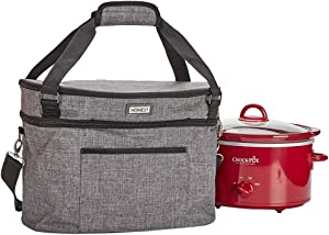 HOMEST Slow Cooker Travel Bag with Easy to Clean Lining, Insulated Carrier with Zippered Accessory Pocket, Carry Case Compatible with Crock Pot 4-5 Quart (Patent Design)