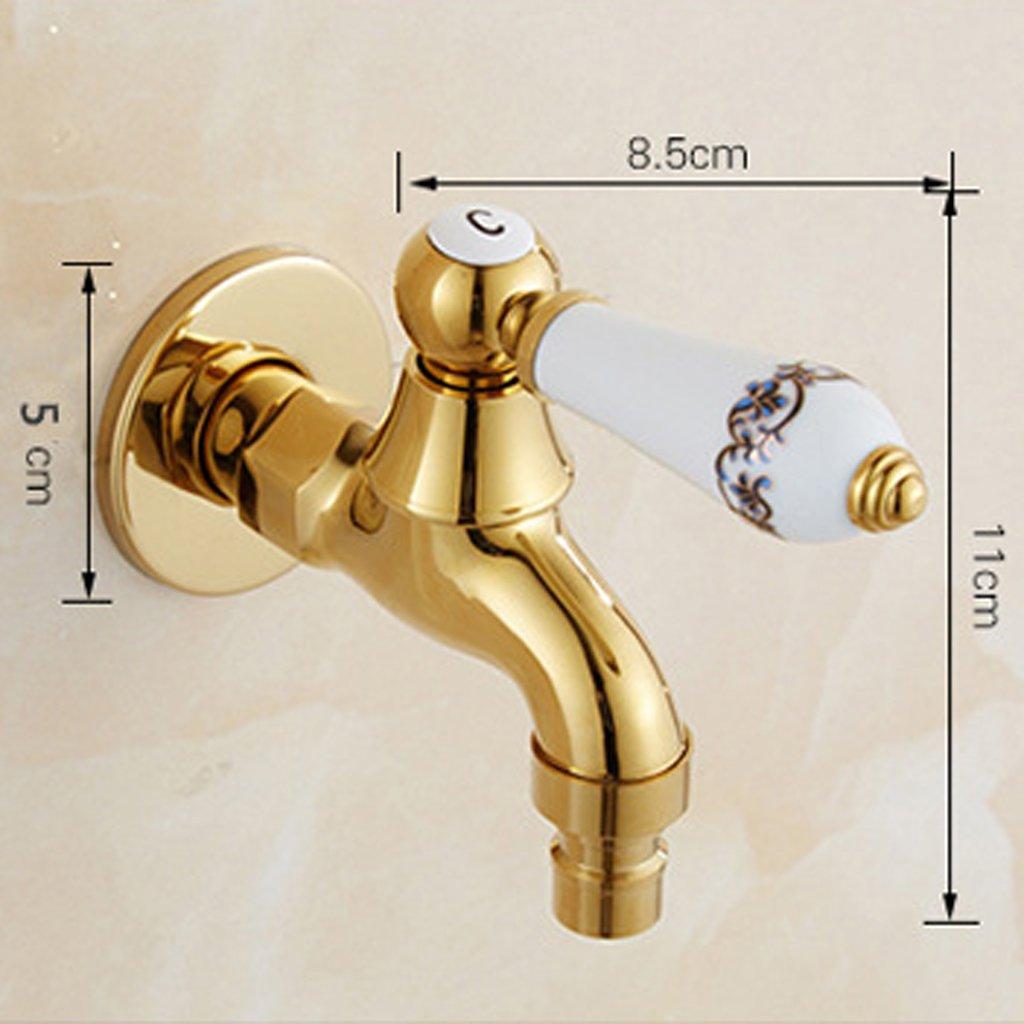 MagiDeal G1//2  Wand Einhebel Sp/ültisch Wasserhahn f/ür Waschtischarmatur oder Waschmaschine Gold