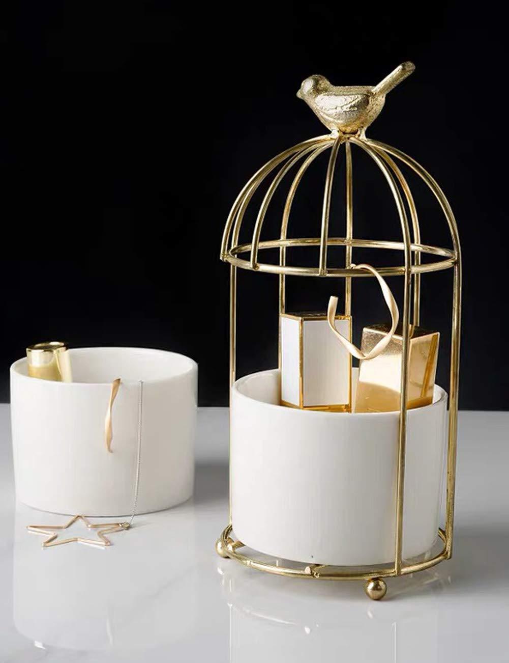 lemonadeus Birdcage Lipstick Organizer Portable Decor Flower Container Display for Wedding (Gold) by lemonadeus