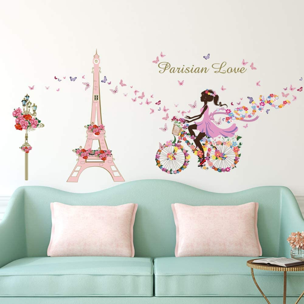 ufengke Pegatinas de Pared Ni/ña Bicicleta Vinilos Adhesivos Pared Flores Torre Eiffel Decorativos para Dormitorio Habitaci/ón Infantiles