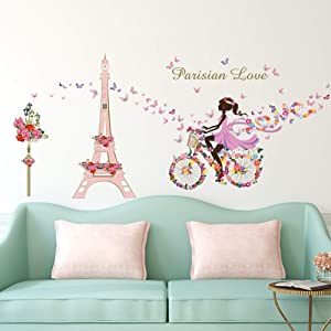 ufengke Girl Bicycle Wall Stickers Flowers Eiffel Tower Wall Decals Mural for Kids Bedroom Living Room