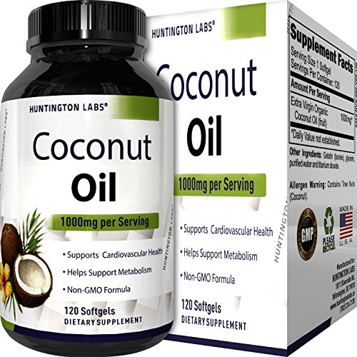 Pure Organic Coconut Oil – Natural Supplement for Heart Health – Supports Normal Blood Sugar & Cholesterol Levels – Cold Pressed & Extra Virgin – 1000mg – 120 Softgels – By Huntington Labs (Cholesterol Normal)