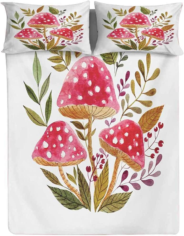 Fitted Sheet Twin Size,Aquarelle Amantias with Autumn Season Foliage and Berries Mushroom Illustration Fitted Sheet Set 3 Piece,1 Fitted Sheet & 2 Pillow Cases,15