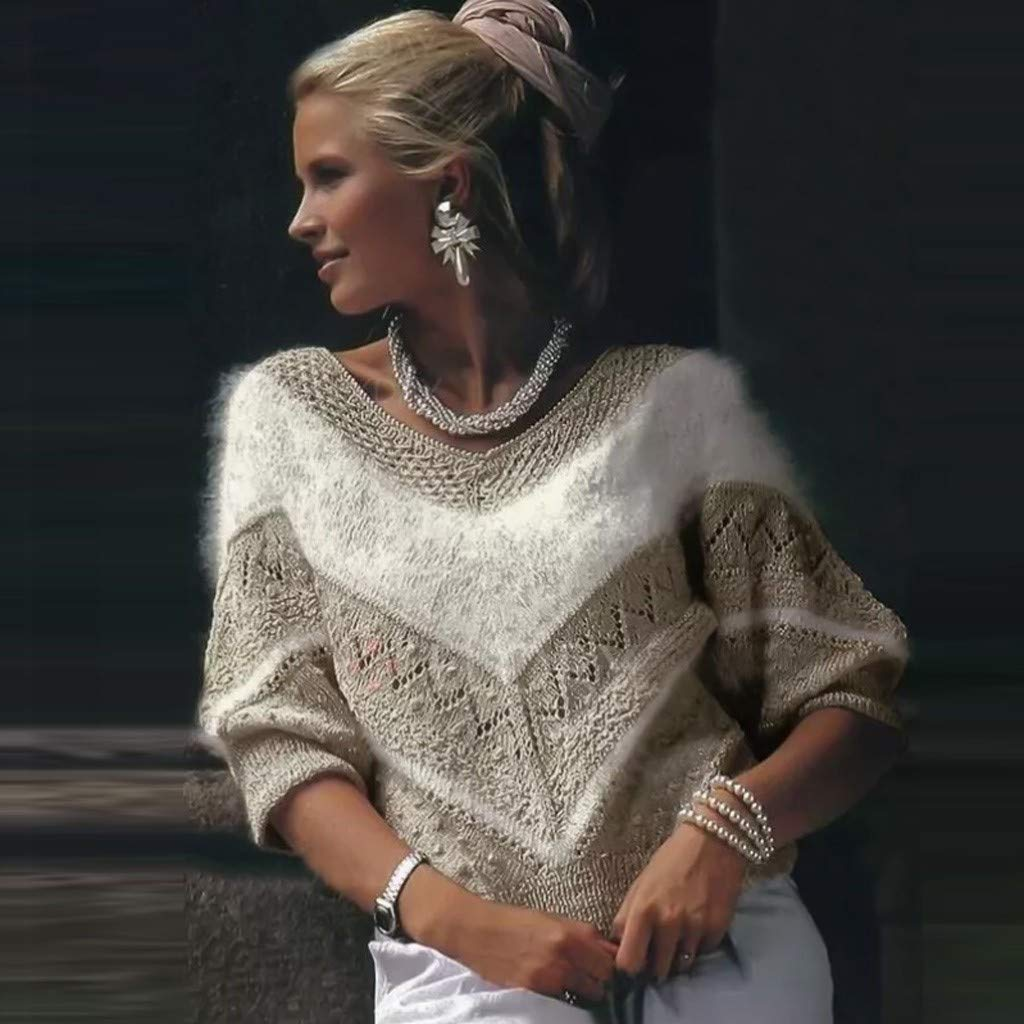 UJUNAOR Damen Pullover V-Ausschnitt Langarm Einfarbig Shirt Oberteile Hemd Sweatshirt Tops Loose Strickpullover Pulli Bluse Mode Frauen Oansatz Symmetrische V Muster Warme Winter Lose Pullover