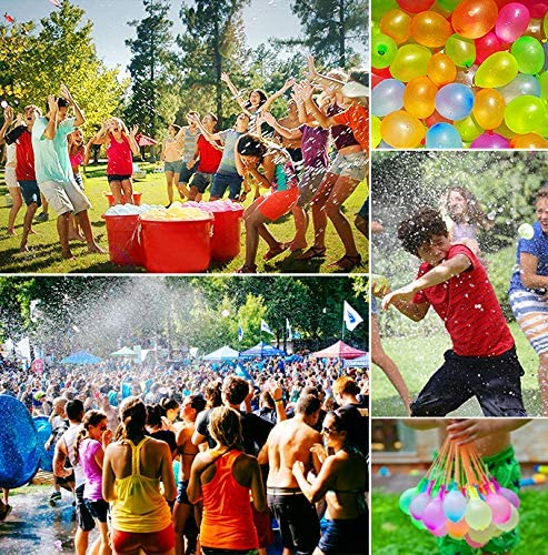 Summer Splash Fun for Kids and Adults Latex Water Bomb Fight Games PAKESI 1500 Pack Water Balloons with Refill Kits
