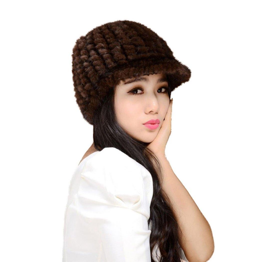 Fur Story 14616 Women's Knitted Real Mink Fur Hat Classic Visor Cap Brown