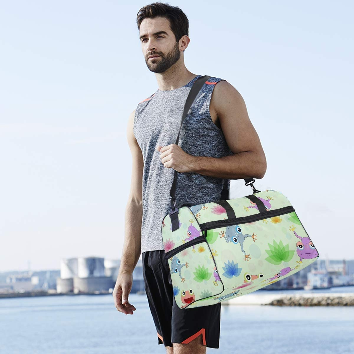 FAJRO Gym Bag Travel Duffel Express Weekender Bag Colorful Frogs Pattern Carry On Luggage with Shoe Pouch