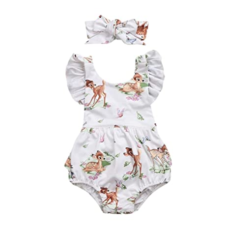 9c755af4bf59 Amazon.com  G-real Infant Baby Girl Cute Flower Deer Romper Jumpsuit ...