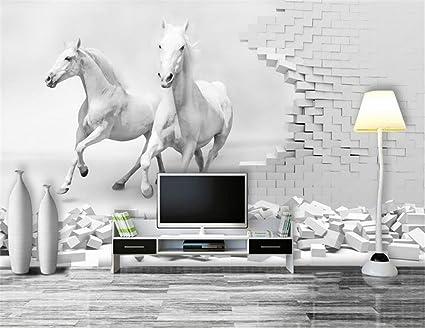 . Lwcx 3D Wallpaper Custom Photo Wallpaper Two White Horse Walls Wall