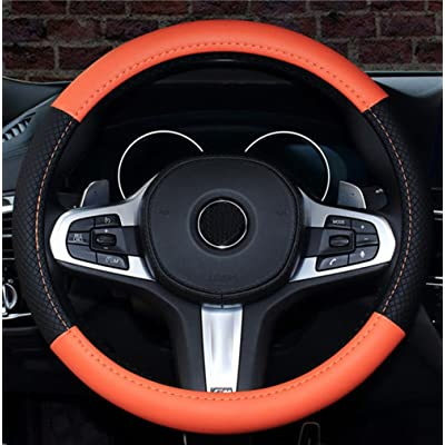 ISTN 2020 New Car Steering Wheel Cover Comfort Durability Safety Case (14.5''-15'', Orange): Automotive