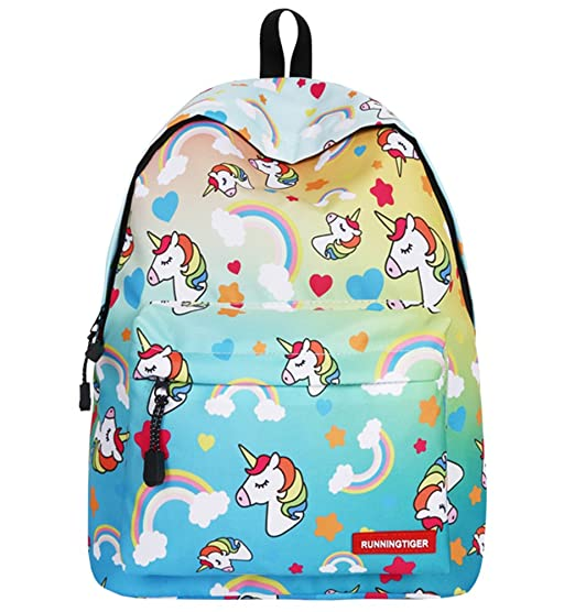 c8986f5247d2fe Unicorn Girls Backpack Kids School Bookbag for Teens Girls Students Blue