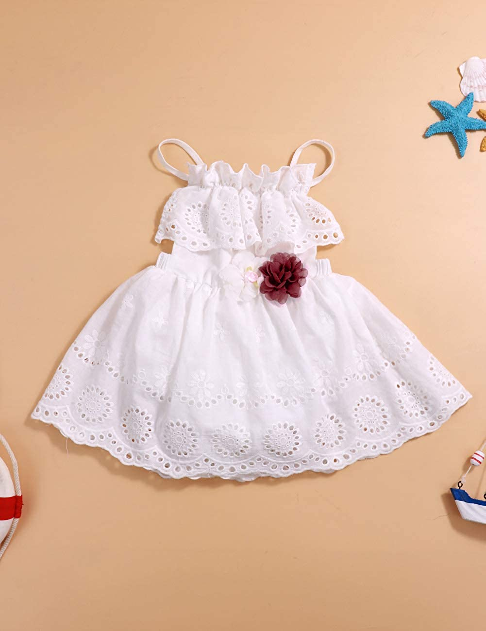 Newborn Baby Girl Clothes Ruffle Sleeveless Lace Dress with Red Flower Outfit Skirt Sets White, 6-12 Months