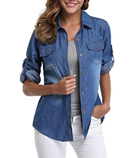 1889d94f69 MISS MOLY Denim Shirt Women Washed Rolled Long Sleeve Point Collar Tops w 2  Chest Flap