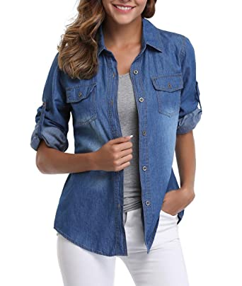 40595bbf2b9 MISS MOLY Women s Washed Rolled Long Sleeve Point Collar Denim Shirt w 2  Chest Flap Packets