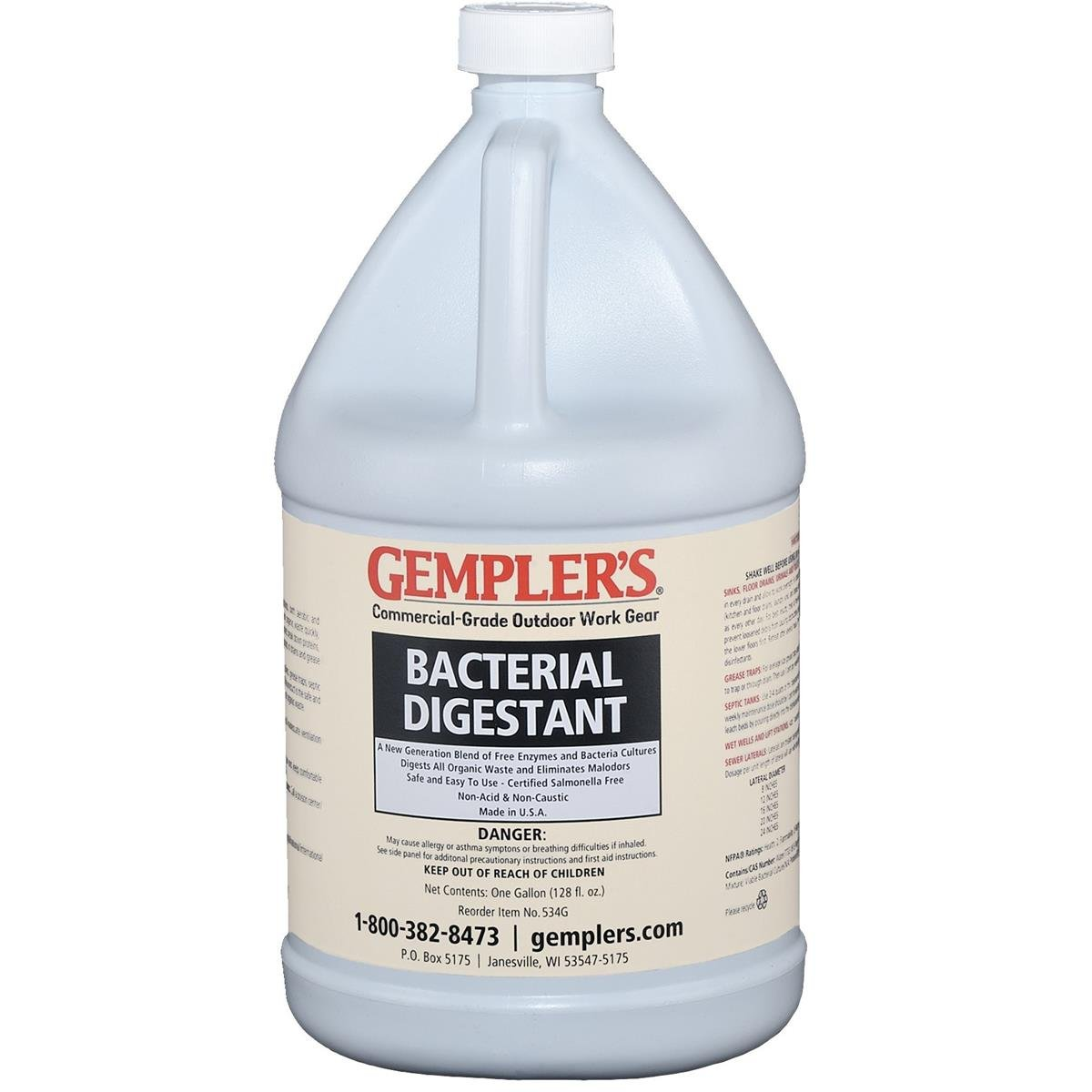 GEMPLER'S Extra-Strong All Natural Bacterial Digestant, 1 Gallon, for Treating and Keeping Septic Tanks and Drain Lines Clear + Best Odor Eliminator for Drains, Grease Traps, Sinks, Urinals/Toilets