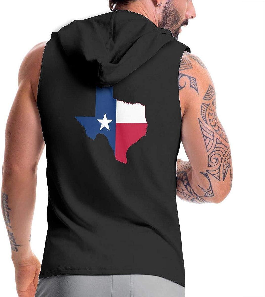 BB/&YYY Texas Lone Star State Mens Sleeveless Zipper Fleece Hoodie Lifting Vest Tank