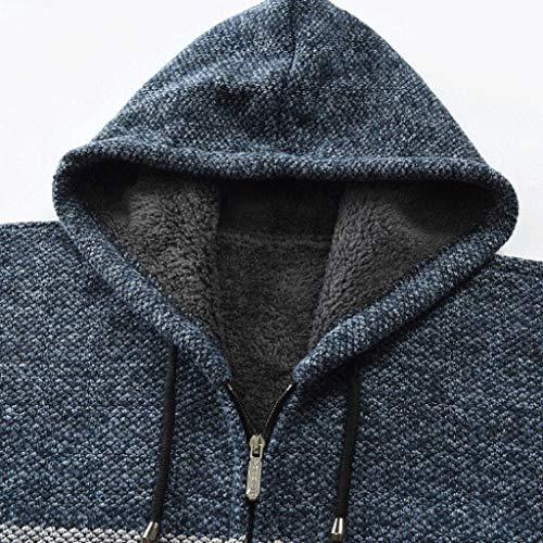 Felpa Inverno Cappuccio A Cappotto Collo Sweatshirt Uomo Hoodie Dolcevita Elegante Maniche Classico Cielo Cerniera Distintivo Camicetta Lunghe Maglione Blu Tops Con Qinsling qwpzEHF