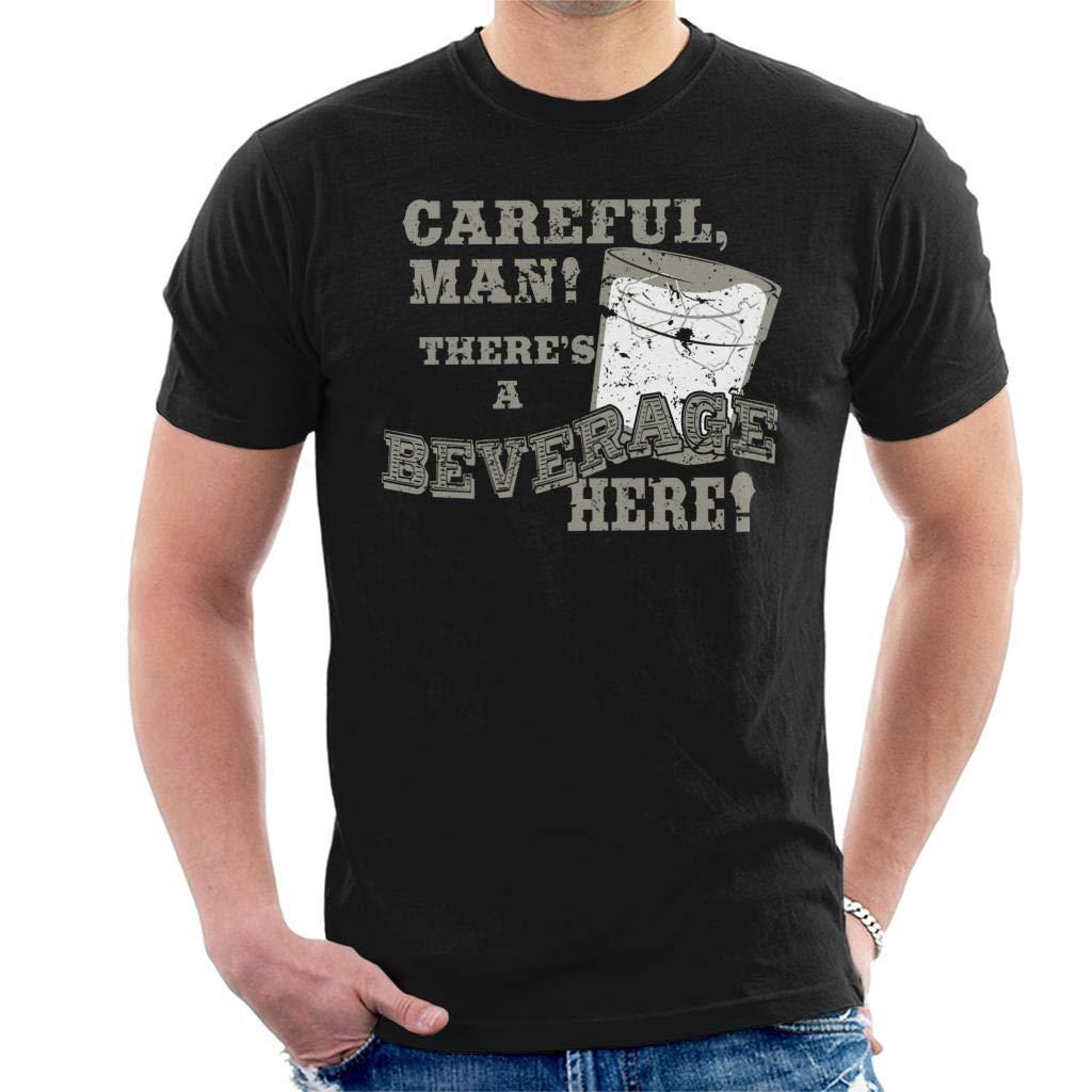 WilmaJMc Mens Big Lebowski Careful Beverage Mens Cool T-Shirt