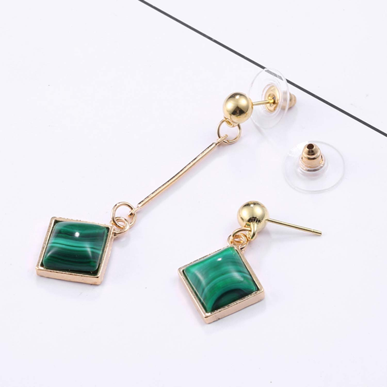 Anieca Square Rhinestone Alloy Drop Earrings for Women Girl