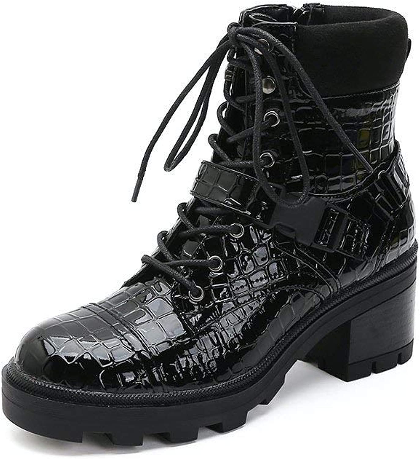 Chunky Heel Combat Boots Lace Up