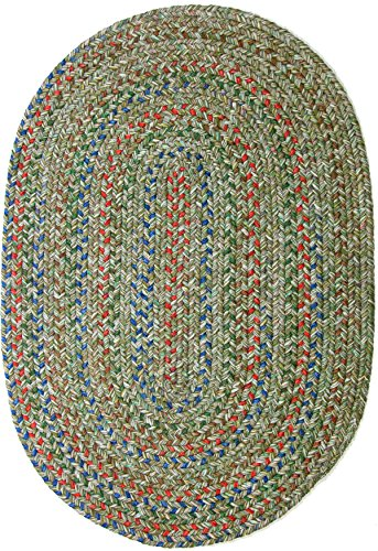 RRI Home Decor Sonya Indoor/Outdoor Oval Reversible Braided Rug, 4 by 6-Feet, Moss (Oval Moss Green Area Rugs)