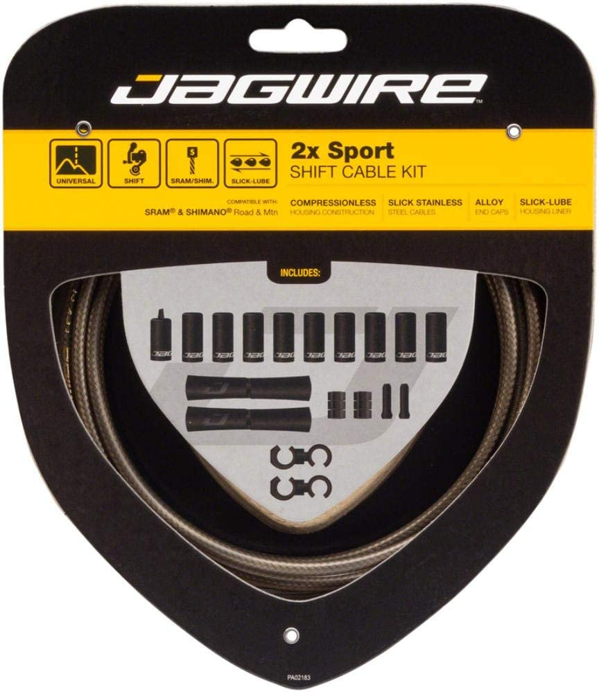Jagwire 2X Sport Shift Kit Adult Unisex Shift Cable and Sheaths, Silver, One Size