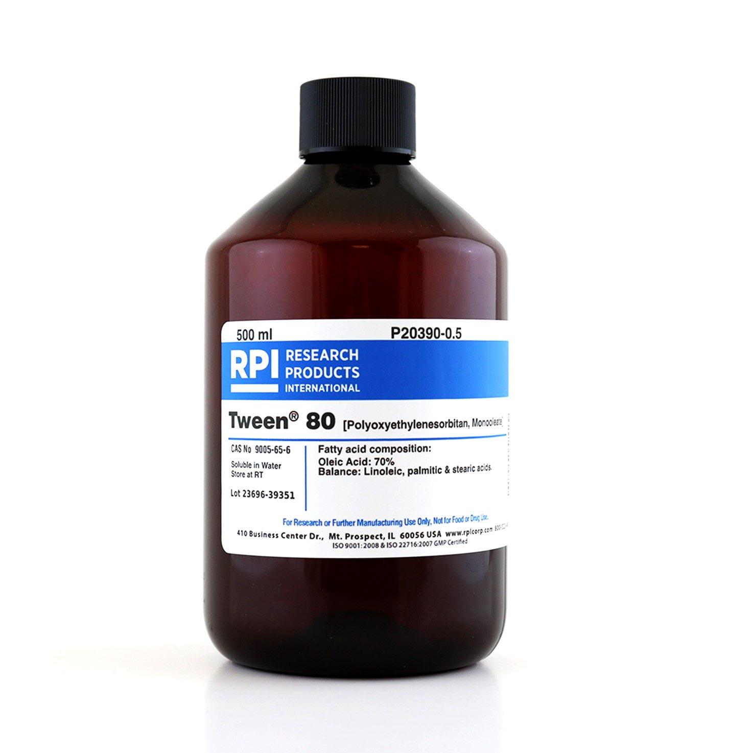 Tween 80 (Polyoxyethylenesorbitan, Monooleate), 500 Milliliters