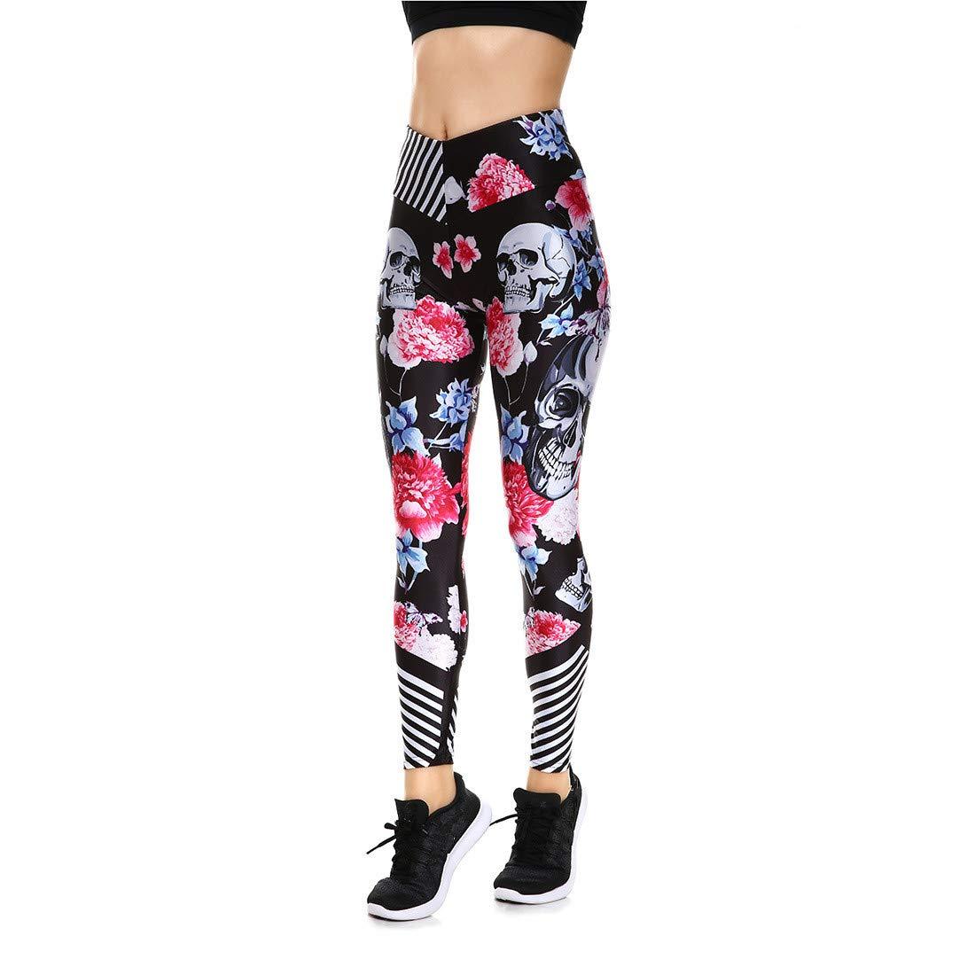 Fanii Quare Women's High Waist Dri-Fit Running Tights Printed Training Compression Workout Pants Flower Skull S