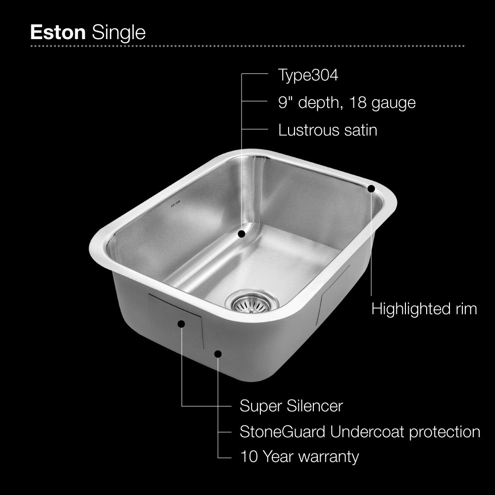 Houzer STS 1300 1 Eston Series Undermount Stainless Steel Single Bowl  Kitchen Sink, 18 Gauge   Houser Undermount Sinks   Amazon.com