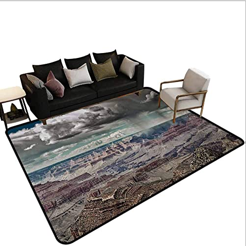 Nature Living Room Rug Cumulus Clouds on Grand Canyon Valley with Hazy Beams Idyllic Nature Photography Classroom Carpet White Brown Area 5 x7