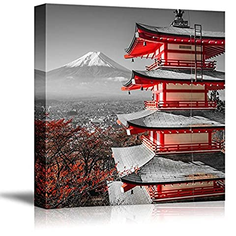 Wall26 - Black and White Photograph with Pop of Red on a Chinese Shrine - Canvas Art Home Decor - 24x24 (Red And Black Canvas Art)