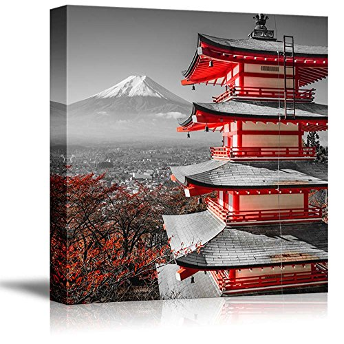 - wall26 Black and White Photograph with Pop of Red on a Chinese Shrine - Canvas Art Home Decor - 24x24 inches