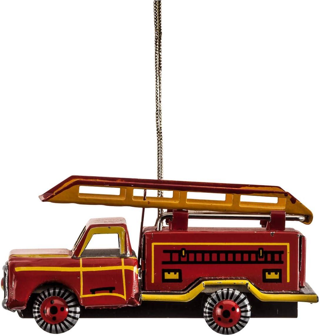 Alexander Taron AT3 Collectible Tin Ornament Red 1.5 H x 1.25 W x 3.25 D Fire Truck