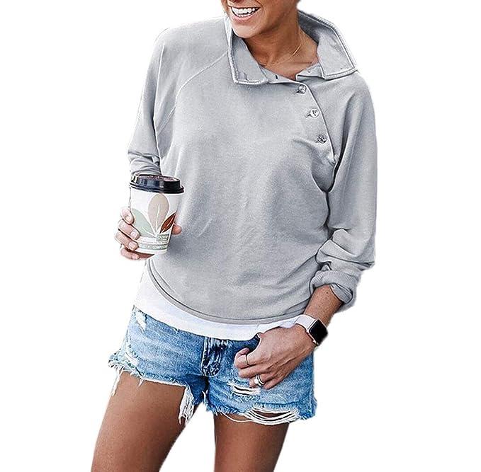 Primavera y Otoño Mujeres Sudaderas Moda Manga Larga Sweatshirt Camisetas Jumpers Suéter Casual T-Shirt Tops Blouses Jerséis: Amazon.es: Ropa y accesorios
