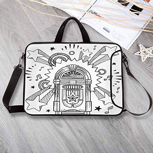 "Jukebox Portable Neoprene Laptop Bag,Retro Vintage Cartoon Sketchy Style Radio Music Notes Box with Stars Laptop Bag for Travel Office School,8.7""L x 11""W x 0.8""H"