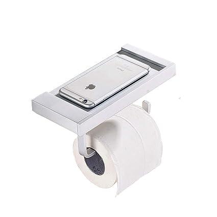 Papel higiénico soporte estante de almacenamiento con el teléfono móvil, zuyee espacio aluminio baño higiénico