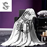 smallbeefly Japanese Dragon Digital Printing Blanket Ancient Far Eastern Culture Esoteric Magical Monster Symbolic Thai Style Summer Quilt Comforter Black White