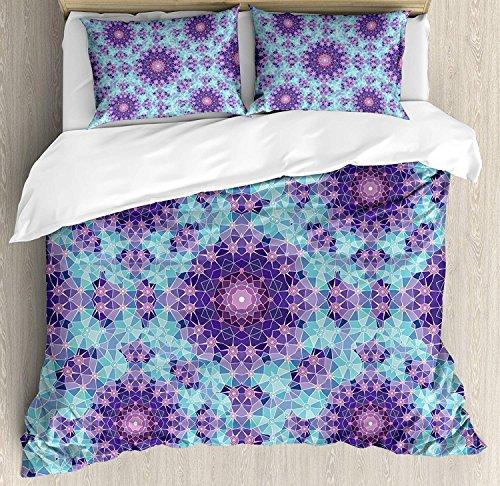 Purple Mandala Duvet Cover Set, Geometric Mosaic Fractal Ethnic Sign of Universe Graphic Art Theme, A Decorative 3 Piece Bedding Set with 2 Pillow Shams, Sky Blue Teal Mauve Lilac -