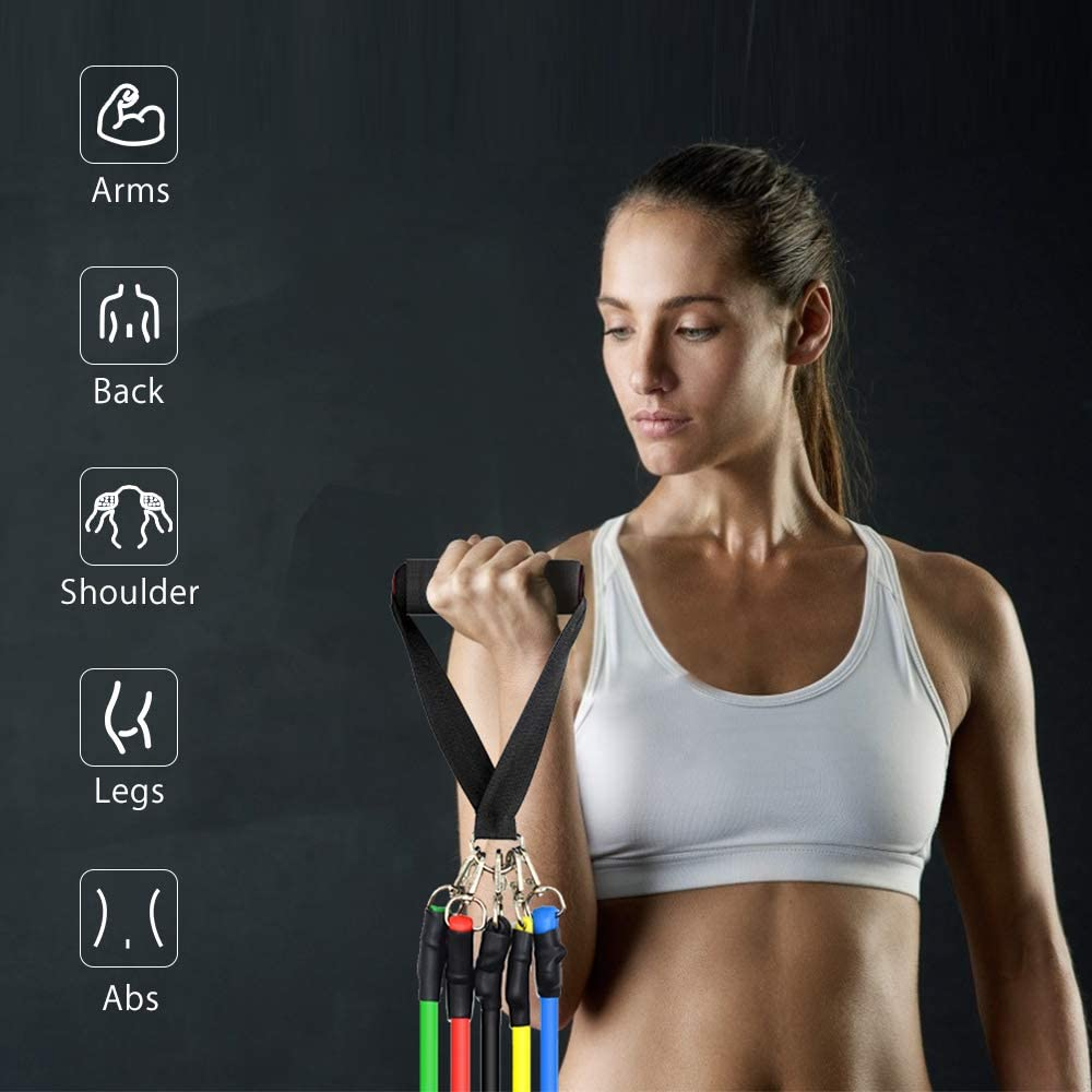 11-in 1 Exercise Bands with 5 Fitness Workout Bands//Cushioned Handles//Ankle Straps//Door Anchor//Storage Bag Physical Therapy for Resistance Training Home Workout MOUNTDOG Resistance Bands Set