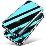 iPhone X ケース Aunote TPU 強化ガラスケース 全面保護カバー 耐衝撃 薄型 耐久 ハードケース ストラップホール付き Qi充電対応 アイフォンテン ケース(アイホンx / iphone10 ケース クリア)