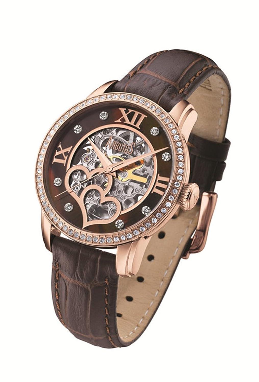 Arbutus New York Damen Automatik Uhr AR712 Skelett Zifferblatt - braunes Lederband