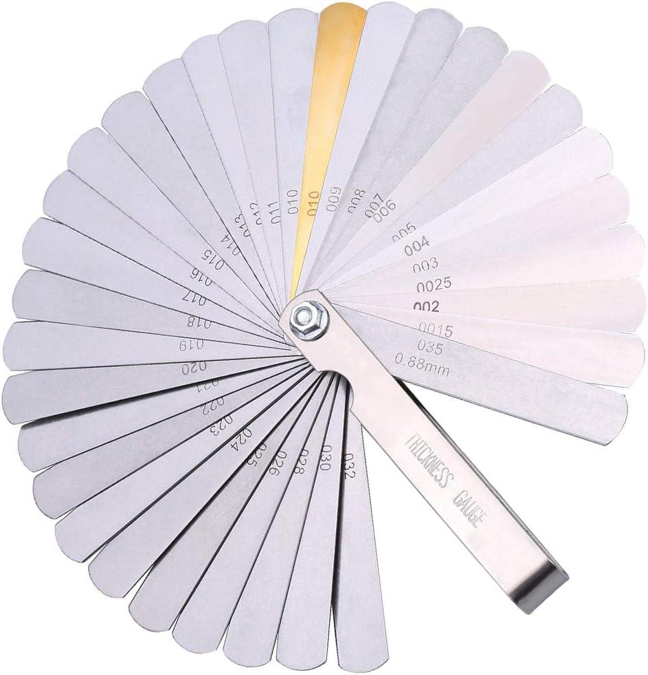 Feeler Gauge Set Silver Stainless Steel Metric Imperial Dual Marker Measuring Tool