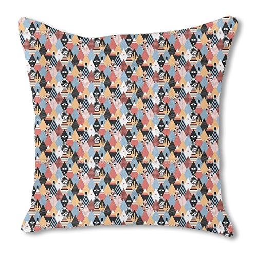 Patchwork Triangles 16X16 Burlap Pillow 2-Sided Custom Print