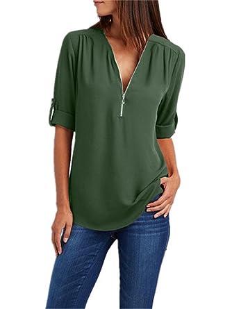 507f8217b7d48 FANGZHENG Women Chiffon Shirt Summer Fashion Womens Tops and Blouses V-Neck  Long Sleeve Blouse