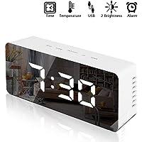 Echoming Reloj Despertador Digital, Despertadores Electrónicos Multifunción con Función Snooze, Luz de Nocturna Infantil, Espejo LED, Temperatura, USB Puertos, 2 Niveles de Brillo Ajustable