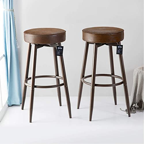DYH Metal Bar Stools Set of 2, Swivel Chocolate Kitchen Counter Stool, Adjustable Industrial Round Barstool, Brown Bar Chairs, 24 or 29 Inch For Counter Pub Height