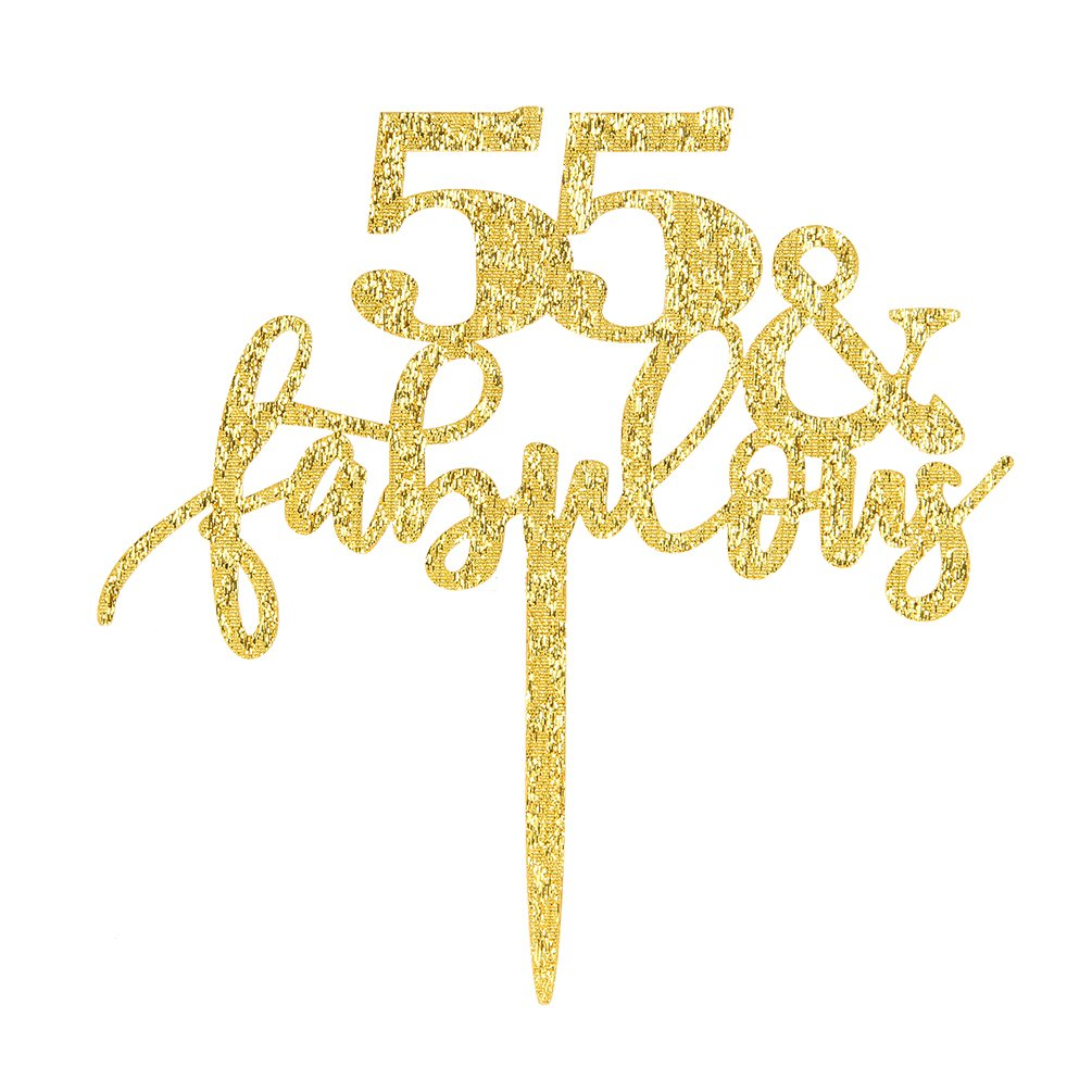 55 & Fabulous Cake Topper, Glitter Gold 55th Birthday Party Cupcake Topper Decoration Sign