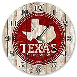 10.5 TEXAS STATE RUBBER STAMP CLOCK - Large 10.5 Wall Clock - Home Décor Clock