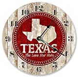 10.5″ TEXAS STATE RUBBER STAMP CLOCK – Large 10.5″ Wall Clock – Home Décor Clock For Sale