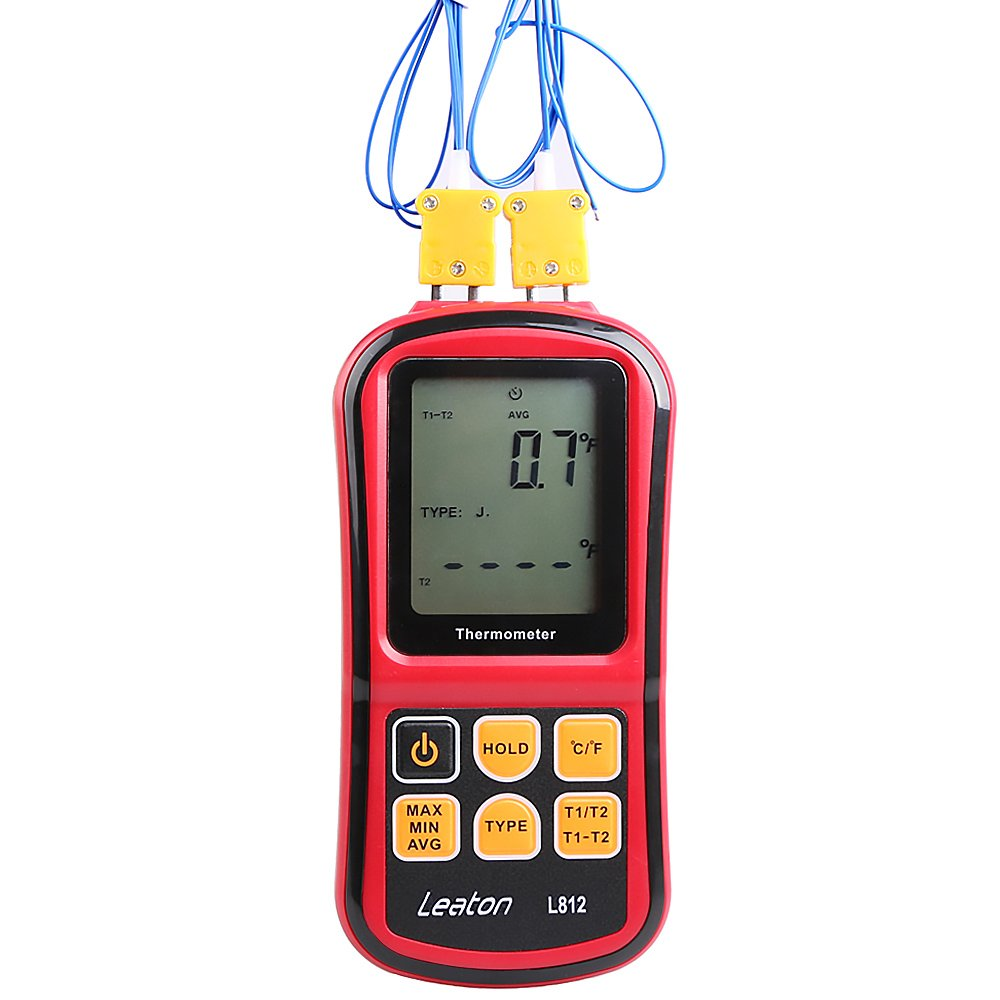 Leaton Digital Thermocouple Thermometer Dual-channel LCD Backlight Temperature Meter Tester for K/J/T/E/R/S/N Great (Batteries included) by Leaton